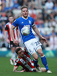Billy Sharp of Sheffield Utd and Michael Morrison of Birmingham City during the championship match at St Andrews Stadium, Birmingham. Picture date 21st April 2018. Picture credit should read: Simon Bellis/Sportimage