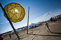 The Summer sub-camp has a large sun as i the centre. It's illuminated during the night. Photo Jonas Elmqvist/Scouterna
