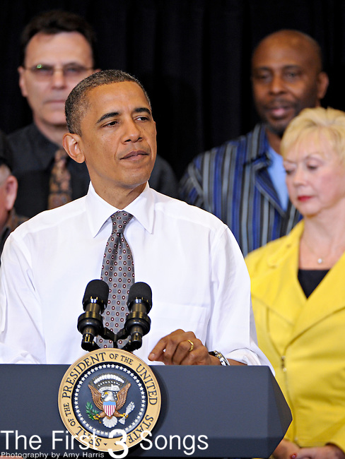 President Barack Obama speaks at Lorain Community College in Elyria, Ohio to deliver remarks on the economy on April 18, 2012.