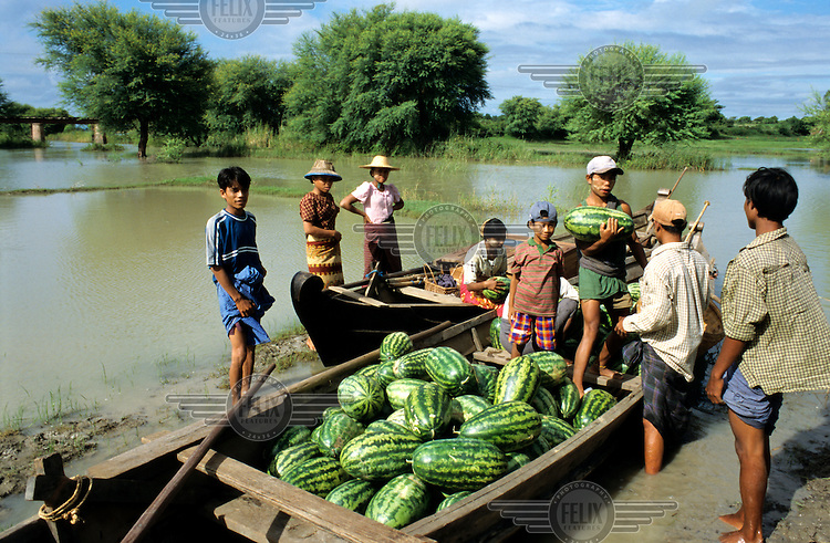 Watermelons in a boat.
