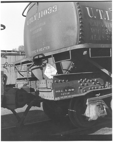 View of the &quot;A&quot; end of UTLX tank car #11033.<br /> D&amp;RGW