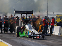Aug 18, 2017; Brainerd, MN, USA; NHRA top fuel driver Clay Millican during qualifying for the Lucas Oil Nationals at Brainerd International Raceway. Mandatory Credit: Mark J. Rebilas-USA TODAY Sports