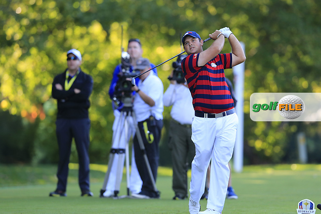 Patrick Reed US Team tees off the 5th tee during Saturday Morning Foursomes Matches of the 41st Ryder Cup, held at Hazeltine National Golf Club, Chaska, Minnesota, USA. 1st October 2016.<br /> Picture: Eoin Clarke | Golffile<br /> <br /> <br /> All photos usage must carry mandatory copyright credit (&copy; Golffile | Eoin Clarke)