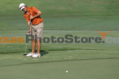 University of Texas senior Toni Hakula hits from the fringe during the Carpet Capital Collegiate at The Farm Golf Club in Rocky Face, Ga., on Sunday, Sept. 8. The Longhorns return to The Farm as defending champions after shooting a 13-under 851 in 2012.<br /> <br /> Photo by Patrick Smith