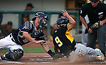 Reno Aces&rsquo; Dan Rohlfing tags Salt Lake Bees&rsquo; Rafael Ortega during a game at Greater Nevada Field, in Reno, Nev., on Wednesday, Aug. 10, 2016.  The Aces won 3-1.<br />