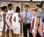 NAUGATUCK, CT- 02 JAN 06- 010207JT18- <br /> Naugatuck coach Keith Raczkowski talks to his team during a time-out in Tuesday's game against Seymour at Naugatuck. Seymour won 41-44.<br /> Josalee Thrift Republican-American