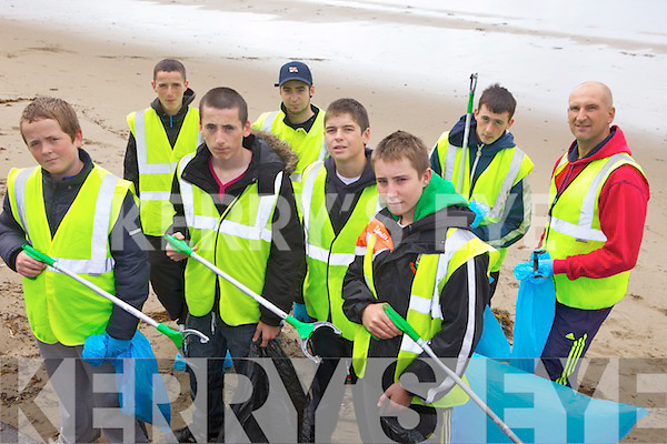 CLEAN-UP: Volunteers with the local KDYS group who did a clean-up of Ballyheigue beach on Friday, front l-r: Conor McCrohan, Aaron James, Michael Leane, David Kissane. Back l-r: Matthew McCrohan, Ryan Lucid, Rory McNamara, Johnn Joy.