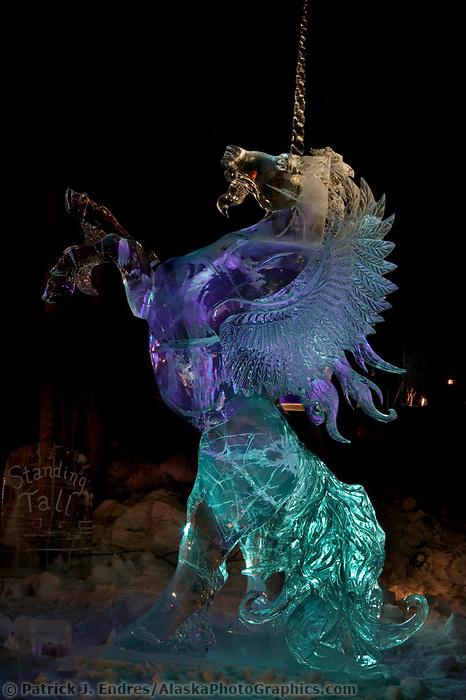Unicorn ice sculpture World Ice Art Championships held each march in Fairbanks, Alaska,