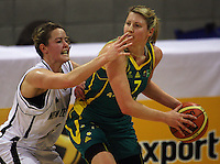 Tall Ferns forward Georgina Richards pressures Carly Wilson during the International women's basketball match between NZ Tall Ferns and Australian Opals at Te Rauparaha Stadium, Porirua, Wellington, New Zealand on Monday 31 August 2009. Photo: Dave Lintott / lintottphoto.co.nz