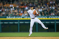 Detroit Tigers shortstop Jose Iglesias (1) makes a throw to first base against the Chicago White Sox at Comerica Park on June 2, 2017 in Detroit, Michigan.  The Tigers defeated the White Sox 15-5.  (Brian Westerholt/Four Seam Images)
