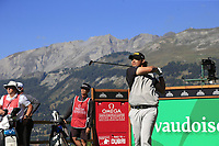 Gavin Green (MAS) tees off the 7th tee during Saturday's Round 3 of the 2018 Omega European Masters, held at the Golf Club Crans-Sur-Sierre, Crans Montana, Switzerland. 8th September 2018.<br /> Picture: Eoin Clarke | Golffile<br /> <br /> <br /> All photos usage must carry mandatory copyright credit (&copy; Golffile | Eoin Clarke)