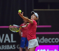 The Netherlands, Den Bosch, 16.04.2014. Fed Cup Netherlands-Japan, Kurumi Nara (JPN)<br /> Photo:Tennisimages/Henk Koster