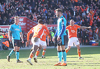 Blackpool's Viv Solomon-Otabor celebrates scoring his sides first goal <br /> <br /> Photographer Mick Walker/CameraSport<br /> <br /> The EFL Sky Bet League One - Blackpool v Fleetwood Town - Saturday 14th April 2018 - Bloomfield Road - Blackpool<br /> <br /> World Copyright &copy; 2018 CameraSport. All rights reserved. 43 Linden Ave. Countesthorpe. Leicester. England. LE8 5PG - Tel: +44 (0) 116 277 4147 - admin@camerasport.com - www.camerasport.com