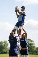 Taulupe Faletau of Bath Rugby wins the ball at a lineout. Bath Rugby pre-season training session on August 9, 2016 at Farleigh House in Bath, England. Photo by: Patrick Khachfe / Onside Images