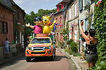 The publicity caravan ahead of the race during Stage 8 of the 2018 Tour de France running 181km from Dreux to Amiens Metropole, France. 14th July 2018. <br /> Picture: ASO/Bruno Bade | Cyclefile<br /> All photos usage must carry mandatory copyright credit (&copy; Cyclefile | ASO/Bruno Bade)