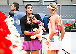 French Caroline Garcia with her dog and French Kristina Mladenovic during Doubles Woman Final Mutua Madrid Open Tennis 2016 in Madrid, May 07, 2016. (ALTERPHOTOS/BorjaB.Hojas)