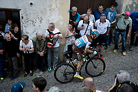 François Bidard (FRA/AG2R - La Mondiale) up the steep, cobbled & crowded climb in Pinerolo<br /> <br /> Stage 12: Cuneo to Pinerolo (158km)<br /> 102nd Giro d'Italia 2019<br /> <br /> ©kramon