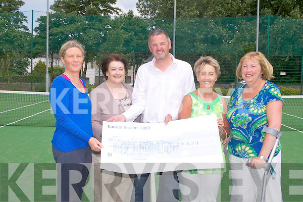 CHEQUE PRESENTATION: Member's of Tralee Tennis Club presenting a cheque for 1,600 euros to MS Tralee/West Kerry with monies raised from a Tennis marathon on the 21st of June l-r: Catherine Geary (Tralee Tennis Club & MS physio), Mary O'Keeffe (secretary MS Tralee/West Kerry), Louis Byrne (treasurer Tralee Tennis Club), Audrey Moran (PRO MS Tralee/West Kerry) and Anne Burrows (assistant (secretary MS Tralee/West Kerry).