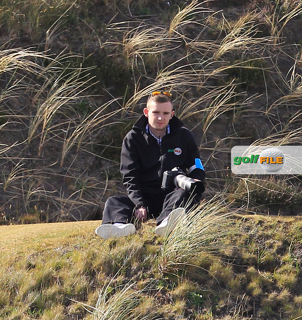 TJ Caffrey (Golffile) at the 9th tee during Round 1 of the 2015 Dubai Duty Free Irish Open, Royal County Down Golf Club, Newcastle Co Down, Northern Ireland. 28/05/2015<br /> Picture Thos Caffrey, www.golffile.ie