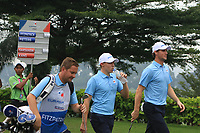 Thomas Pieters and Matthew Fitzpatrick (Europe) on the 5th tee during the Saturday Foursomes of the Eurasia Cup at Glenmarie Golf and Country Club on the 13th January 2018.<br /> Picture:  Thos Caffrey / www.golffile.ie