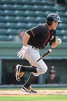 Outfielder Anthony Vega (16) of the Delmarva Shorebirds bats in a game against the Greenville Drive on Monday, April 29, 2013, at Fluor Field at the West End in Greenville, South Carolina. Delmarva won, 6-5. (Tom Priddy/Four Seam Images)