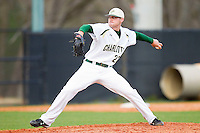 Relief pitcher Tyler Pilkington #22 of the Charlotte 49ers in action against the Tennessee Tech Golden Eagles at Robert and Mariam Hayes Stadium on March 8, 2011 in Charlotte, North Carolina.  Photo by Brian Westerholt / Four Seam Images