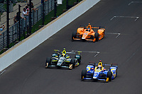 Verizon IndyCar Series<br /> Indianapolis 500 Race<br /> Indianapolis Motor Speedway, Indianapolis, IN USA<br /> Sunday 28 May 2017<br /> Alexander Rossi, Andretti Herta Autosport with Curb-Agajanian Honda, Ed Carpenter, Ed Carpenter Racing Chevrolet, Fernando Alonso, McLaren-Honda-Andretti Honda<br /> World Copyright: F. Peirce Williams<br /> LAT Images