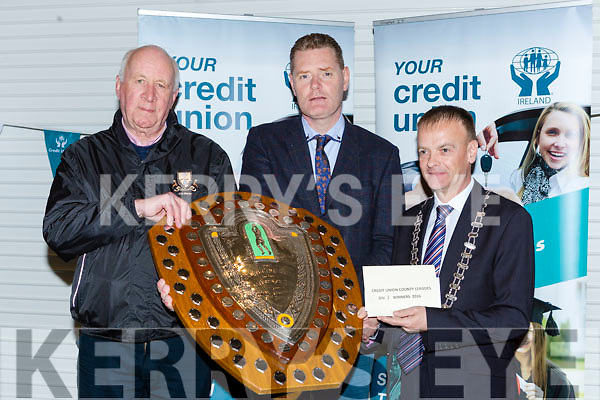 Tim Murphy County Board Chairman and John Long Chairman of Chapter 23 Credit Union presented Dr Crokes the Division a Champions their prize money in Killarney on Monday night l-r:  Paul Downey Dr Crokes, Tim Murphy County Board Chairman and John Long Chairman of Chapter 23 Credit Union