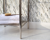 Cable Knit Medium, a waterjet jewel glass mosaic, shown in Alabaster, is part of the Tissé™ collection for New Ravenna.