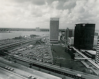 1971 September 29..Redevelopment.Downtown South (R-9)..Financial District.Looking Southwest at waterfront toward Portsmouth from City Hall.Main Street..HAYCOX PHOTORAMIC INC..NEG# 71-496..