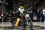 WINSTON-SALEM, NC - JANUARY 23: Wake Forest Demon Deacon mascot rides a motorcycle onto the court before the game. The Wake Forest University Demon Deacons hosted the Duke University Blue Devils on January 23, 2018 at Lawrence Joel Veterans Memorial Coliseum in Winston-Salem, NC in a Division I men's college basketball game. Duke won the game 84-70.