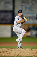Trenton Thunder pitcher Trevor Lane (9) during an Eastern League game against the New Hampshire Fisher Cats on August 20, 2019 at Arm & Hammer Park in Trenton, New Jersey.  New Hampshire defeated Trenton 7-2.  (Mike Janes/Four Seam Images)