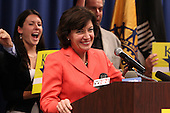 Democratic candidate Kathy Hochul is welcomed during a rally at UAW Union Hall on May 21, 2011 in Amherst, New York.  Hochul is running for the House of Representatives, NY-26th, in a special election to replace disgraced former Congressman Christopher Lee who abruptly resigned after a sex scandal.  Photo By Mike Janes/Four Seam Images