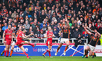 Picture by Alex Whitehead/SWpix.com - 19/03/2017 - Rugby League - Betfred Super League - Salford Red Devils v Castleford Tigers - AJ Bell Stadium, Salford, England - Salford's Gareth O'Brien kicks a drop-goal to win the game.