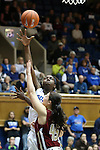27 January 2013: Duke's Elizabeth Williams (behind) shoots over Boston College's Katie Zenevitch (45). The Duke University Blue Devils played the Boston College Eagles at Cameron Indoor Stadium in Durham, North Carolina in an NCAA Division I Women's Basketball game. Duke won the game 80-56.