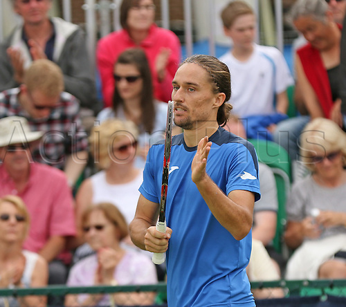 21.06.2016. Nottingham Tennis Centre, Nottingham, England. Aegon Open Mens ATP Tennis. Alexandr Dolgopolov of Ukraine acknowledges the applause of the crowd after his victory over Kyle Edmund of Great Britain 6-4 7-6