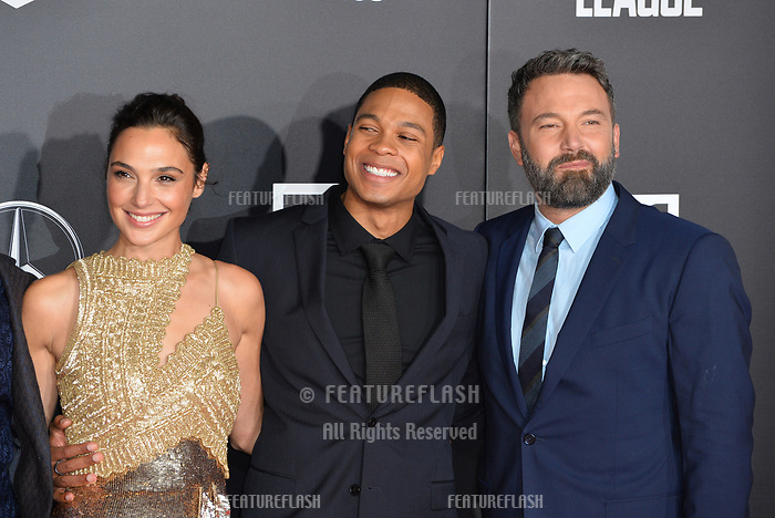 Gal Gadot, Ray Fisher &amp; Ben Affleck at the world premiere for &quot;Justice League&quot; at The Dolby Theatre, Hollywood. Los Angeles, USA 13 November  2017<br /> Picture: Paul Smith/Featureflash/SilverHub 0208 004 5359 sales@silverhubmedia.com