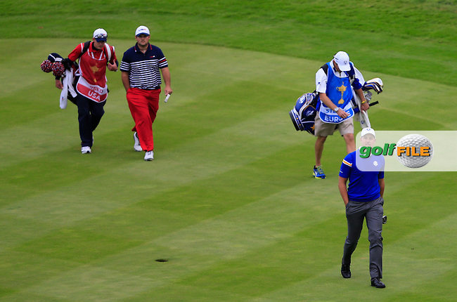 Henrik Stenson (EUR) on the 16th green during the Sunday Singles Matches at the 2014 Ryder Cup at Gleneagles. The 40th Ryder Cup is being played over the PGA Centenary Course at The Gleneagles Hotel, Perthshire from 26th to 28th September 2014.<br /> Picture:  Thos Caffrey / www.golffile.ie