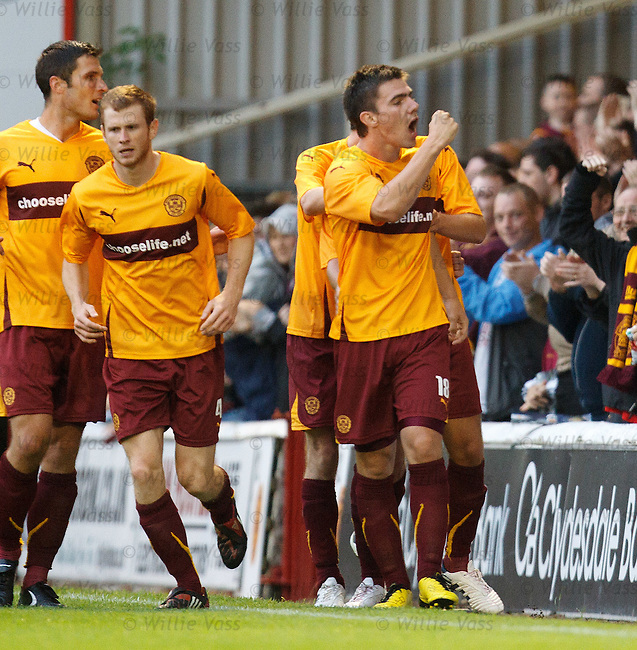 Ross Forbes celebrates as his cross leads to Motherwell's goal