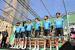 Astana Pro Team at sign on before the start of the 112th edition of Il Lombardia 2018, the final monument of the season running 241km from Bergamo to Como, Lombardy, Italy. 13th October 2018.<br /> Picture: Eoin Clarke | Cyclefile<br /> <br /> <br /> All photos usage must carry mandatory copyright credit (© Cyclefile | Eoin Clarke)