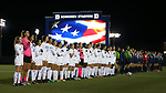 DURHAM, NC - NOVEMBER 11: The players and referees during the playing of the national anthem. The Duke University Blue Devils hosted the UNCG Spartans on November 11, 2017 at Koskinen Stadium in Durham, NC in an NCAA Division I Women's Soccer Tournament First Round game. Duke won the game 1-0.