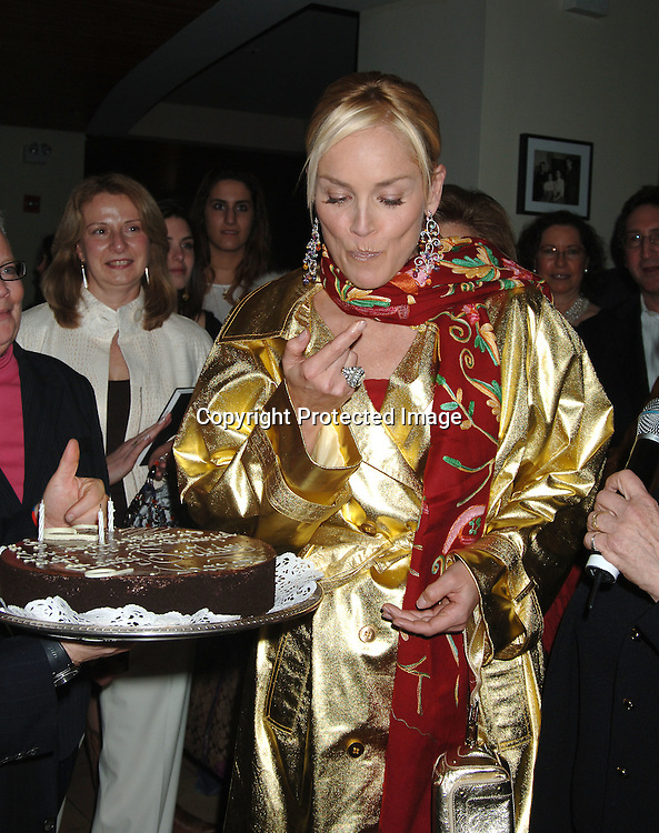 """Sharon Stone..at the Afterparty for the Premiere of """"Basic Instinct 2"""" at Fred's at Barney's on March 27, 2006. The party was benefitting Concerned Parents For Aids Research. Sharon Stoned wowed them auctioning off items that raised       $68, 000...Robin Platzer, Twin Images"""