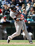 Minnesota Twins  Eduardo Nunez bats against the Seattle Mariners'   April 26, 2015 at Safeco Field in Seattle.  The Twins beat the Mariners beat the Angels 4--2. ©2015. Jim Bryant photo. All RIGHTS RESERVED.