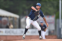 Asheville Tourists starting pitcher Helms Rodriguez (33) delivers a pitch during a game against the Hickory Crawdads on July 23, 2015 in Asheville, North Carolina. The Crawdads defeated the Tourists 8-6. (Tony Farlow/Four Seam Images)
