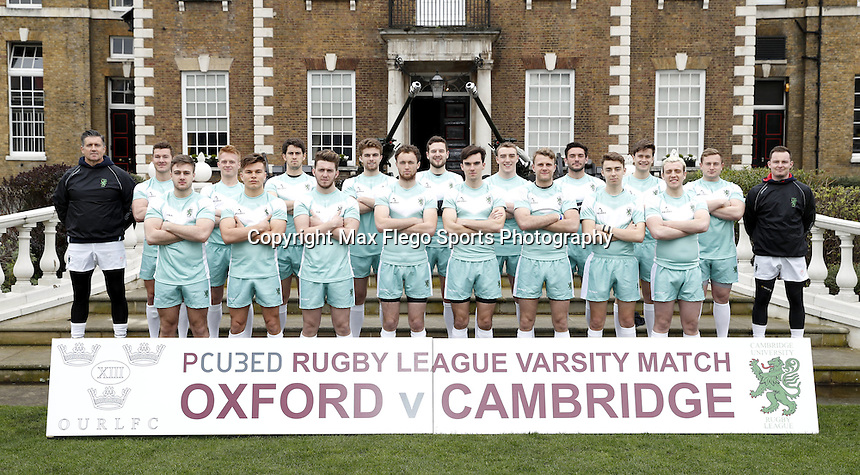 Cambridge team photo during the Pcubed Rugby League Varsity game between Oxford and Cambridge University at the HAC Ground, London, on Fri March 3, 2017