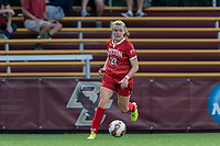 NEWTON, MA - AUGUST 29: Anna Heilferty #27 of Boston University looks to pass during a game between Boston University and Boston College at Newton Campus Field on August 29, 2019 in Newton, Massachusetts.