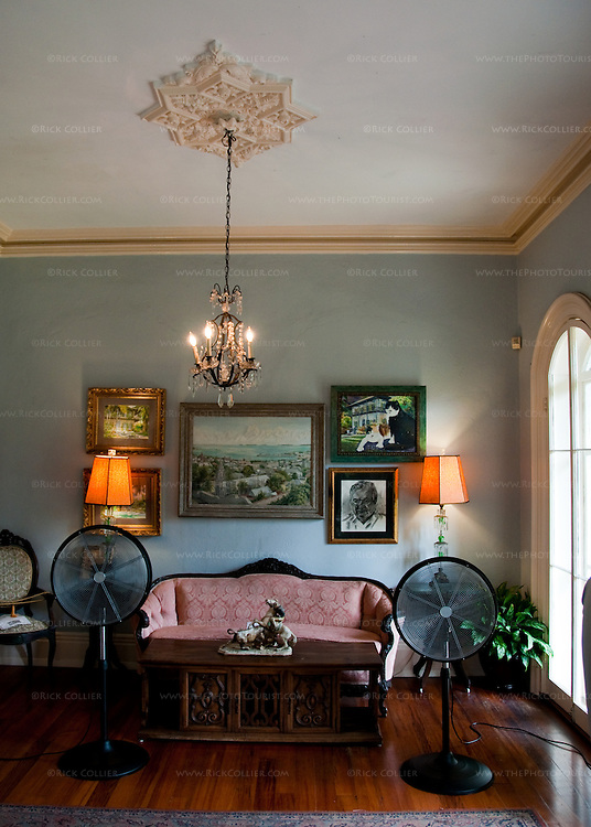The living room at the Hemingway House in Key West, Florida, USA.