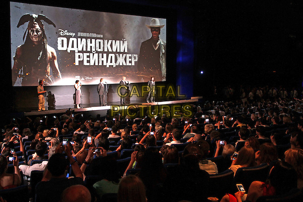 Jerry Bruckheimer, Johnny Depp, Gore Verbinski<br /> 'The Lone Ranger' Russian Film Premiere, Moscow, <br /> Russia, June 27th 2013.<br /> full length on stage audience <br /> CAP/PER/VT<br /> &copy;VT/PersonaStars/CapitalPictures