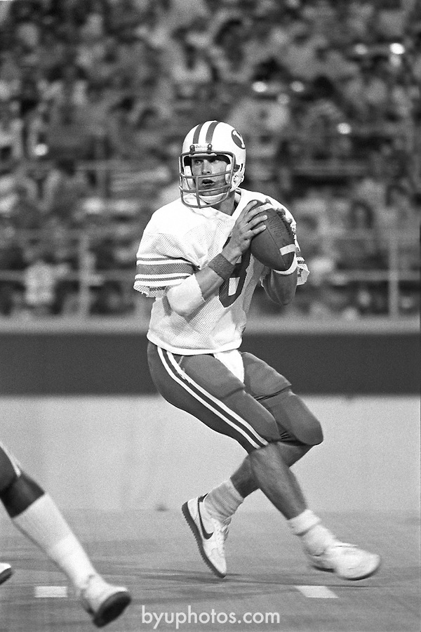 Steve Young 2-104 #2<br /> <br /> 8 Steve Young.<br /> <br /> Photo by Mark Philbrick/BYU<br /> <br /> &copy; BYU PHOTO 2009<br /> All Rights Reserved<br /> photo@byu.edu  (801)422-7322