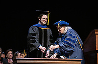 Wendy Sternberg, Vice President for Academic Affairs and Dean of the College presents Gerald Daigle with The Linda and Tod White Teaching Prize.<br /> The class of 2023 are welcomed to Occidental College by trustees, faculty and staff in Thorne Hall on Aug. 27, 2019 during Oxy's 132th Convocation ceremony, a tradition that formally marks the start of the academic year and welcomes the new class.<br /> (Photo by Marc Campos, Occidental College Photographer)